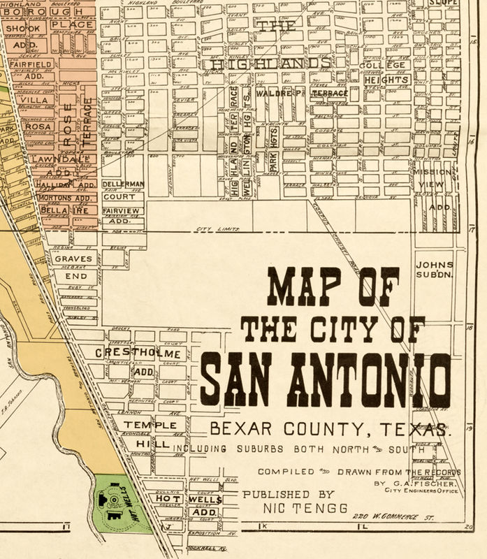 Old Map Of Texas.Old Map Of San Antonio Texas 1924