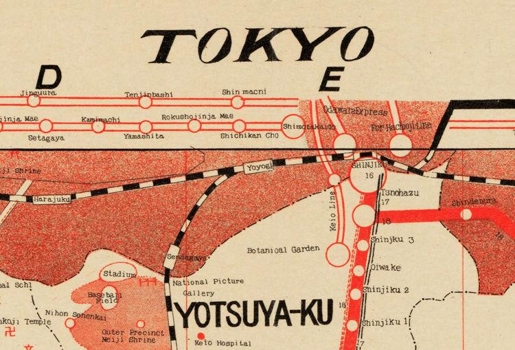 Vintage Map of Tokyo Japan