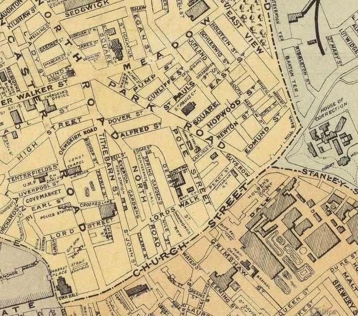 Preston England Map.Old Preston Map 1890 England United Kingdom Old Maps And Vintage