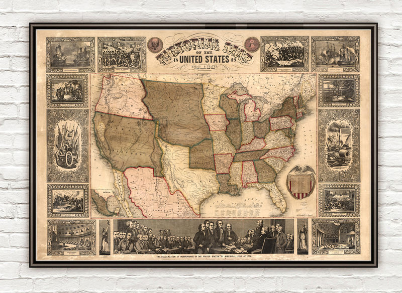 Old Map of United States of America 1849 USA map