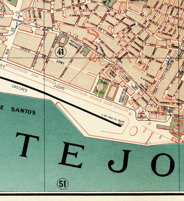 Old Map Of Lisbon Lisboa Portugal Mapa Antigo 1890 Vintage Maps