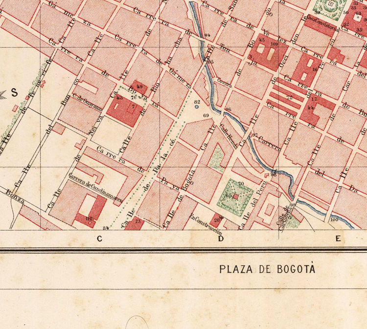 Old Map of Bogotá Colombia 1890
