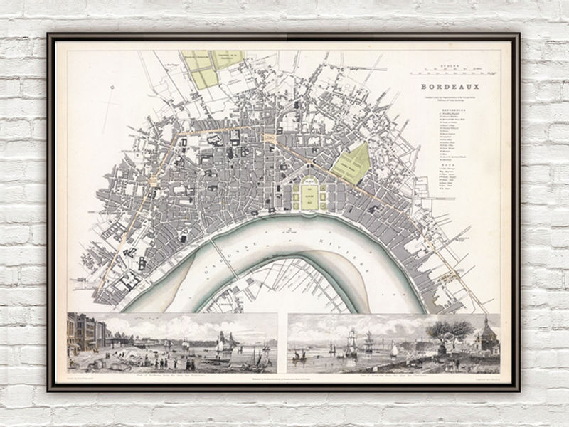 Old Map Of Bordeaux With Gravures City Plan France 1832 Vintage
