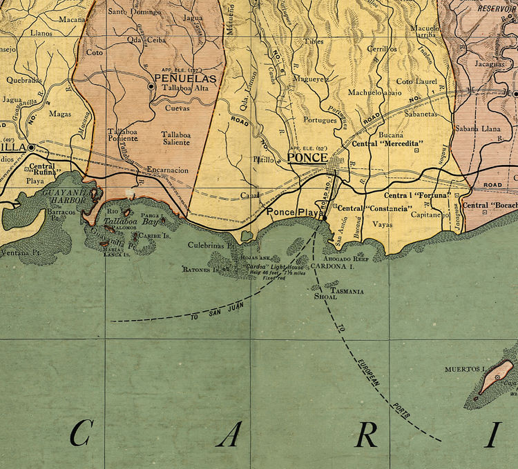 Old Map of Puerto Rico Island, 1915