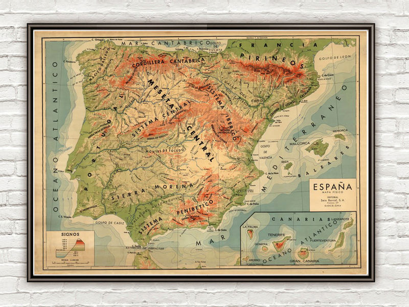 Map 24 Spain.Old Map Of Spain