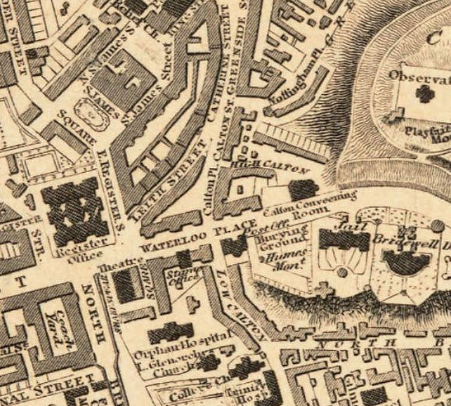 Old Map of Edinburgh 1827 Edinbourg with gravures, Scotland