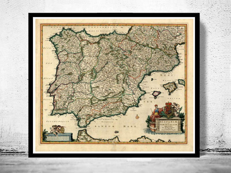 Map Of Spain Old.Old Map Of Spain 1640