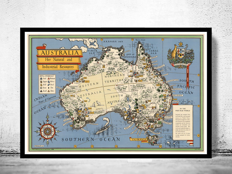 Map Of Australia New Zealand.Old Map Australia Oceania New Zealand Antique 1946 Vintage Map