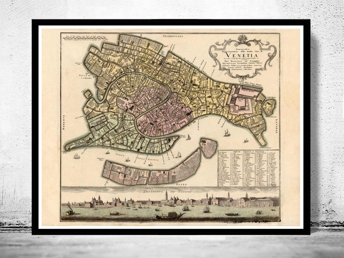 Old Map of Venice 1729 Venetia Venezia - VINTAGE MAPS AND ...