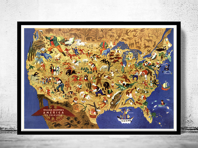 Vintage Map of United States America, its folklore, representing U.S.  States 1946