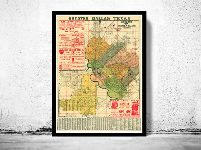 Greater Dallas Map.Old Map Of Dallas 1905 Texas Old Maps And Vintage Prints