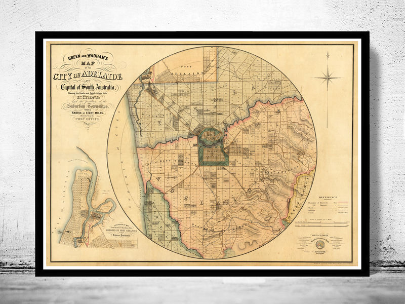 Map Of Adelaide Australia.Great Map Of Adelaide Australia 1891
