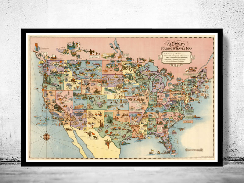 Old Map Of United States Travel Map 1928 Vintage Map Vintage Maps And Prints