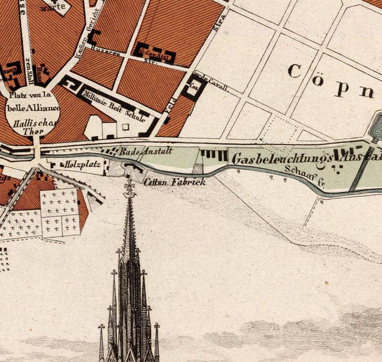 antique map of berlin germany 1860 old maps and vintage prints. Black Bedroom Furniture Sets. Home Design Ideas
