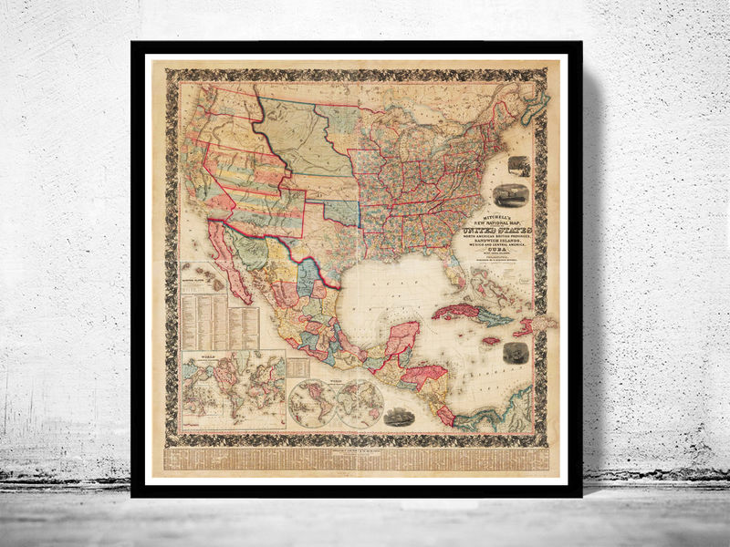 United States Map Picture Frame.Vintage Map Of United States America 1856 Old Maps And Vintage Prints