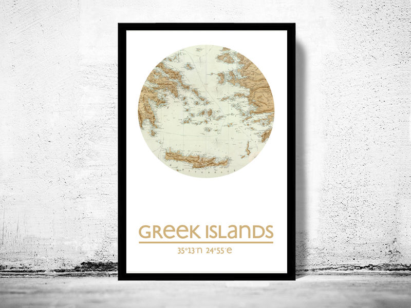 greek islands city poster city map poster print old maps and