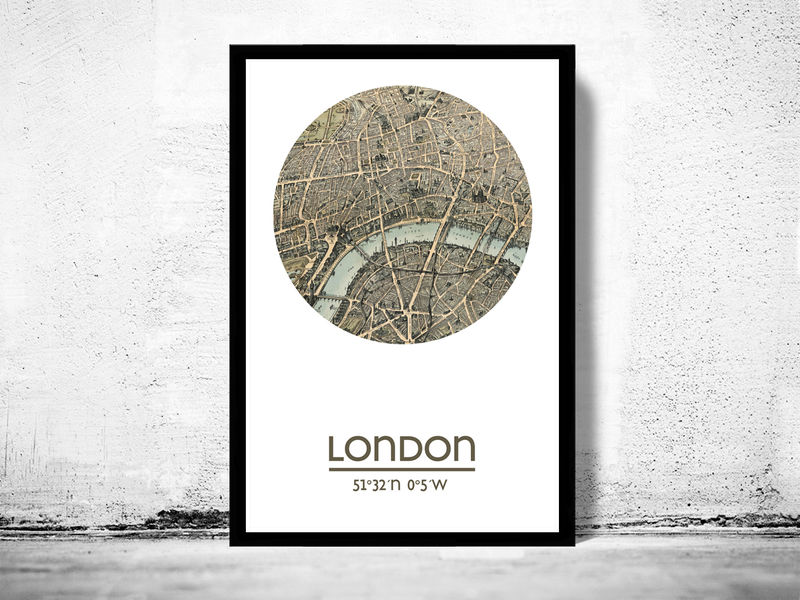 LONDON city poster 2 city map poster print OLD MAPS AND