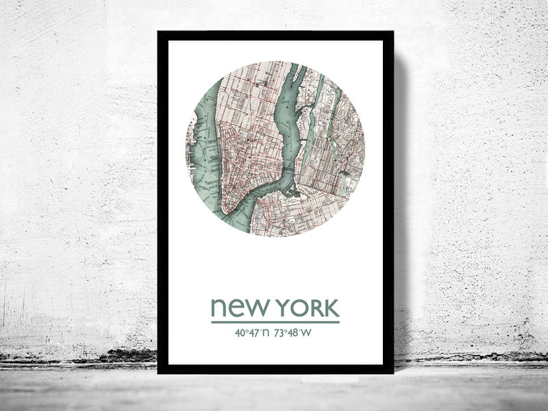 Map Of New York Poster.New York City Poster City Map Poster Print