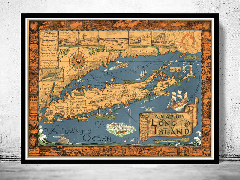 Vintage Map Of Long Island Old Maps And Vintage Prints