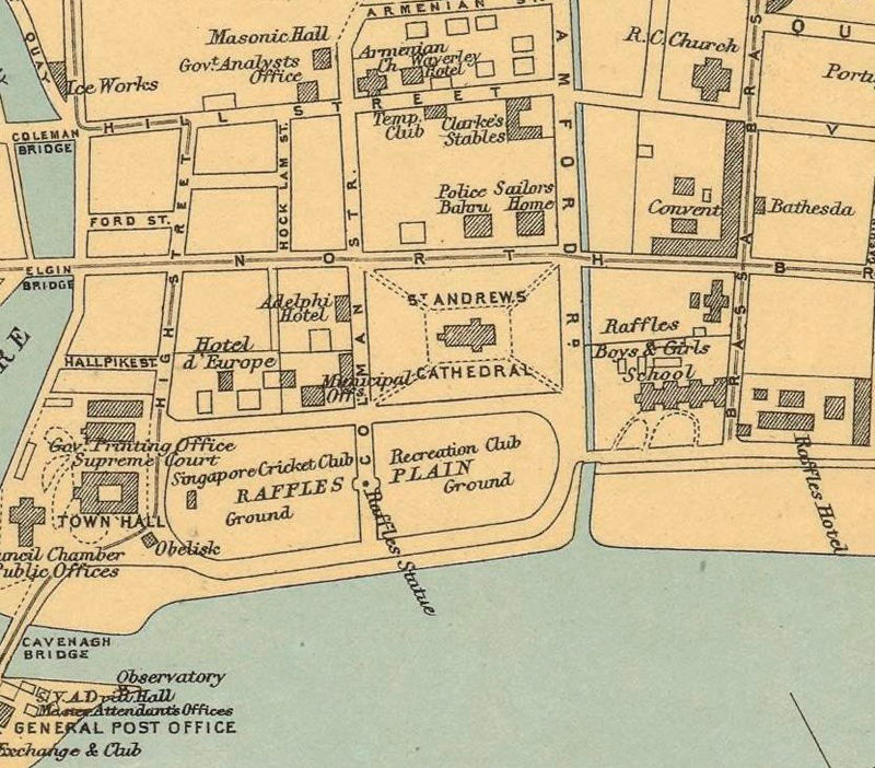 maps singapore vintage