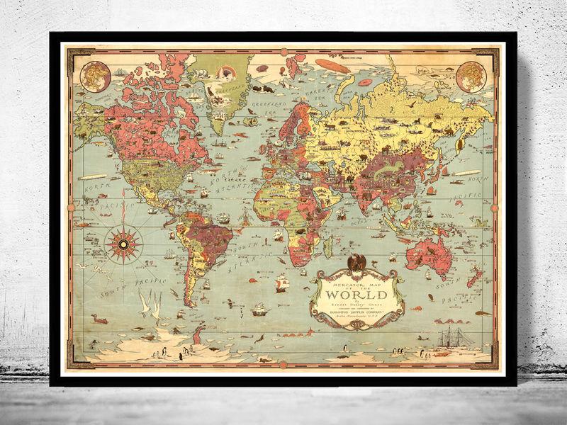 Marvellous Vintage World Map Old Maps And Vintage Prints