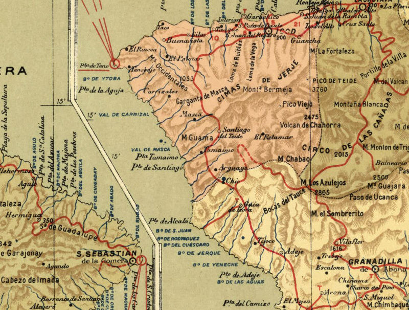 Old Map of Tenerife Canary Islands 1900