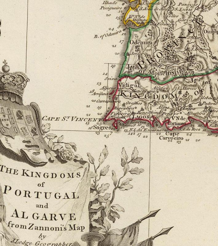 Old Map of Portugal 1794 Mapa de Portugal, Portuguese map