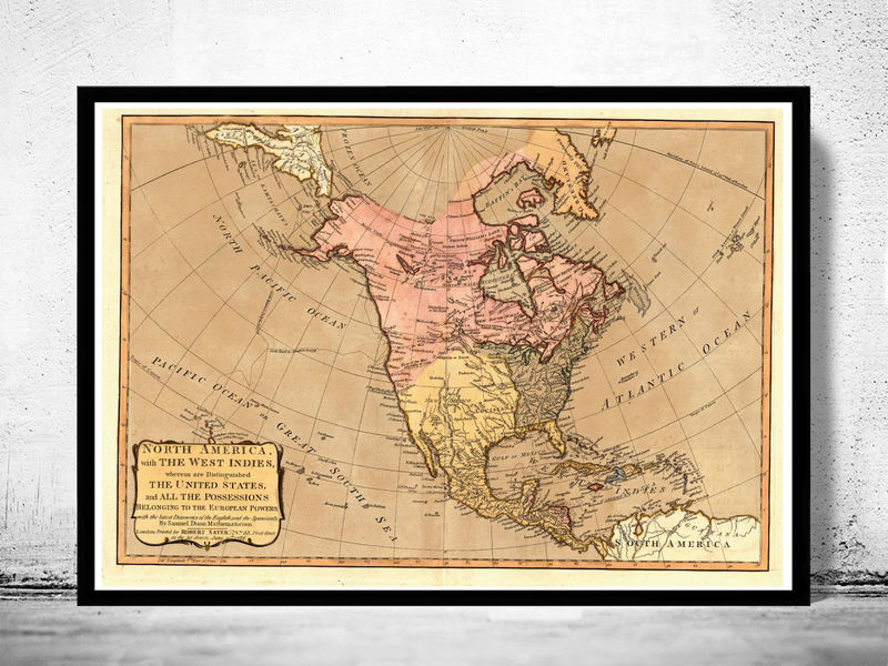 Old North America Map.Old Map Of North America Antique United States Canada 1786 Old