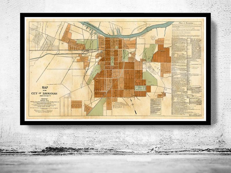 Savannah State Map.Old Map Of Savannah Ga Georgia 1917 Old Maps And Vintage Prints
