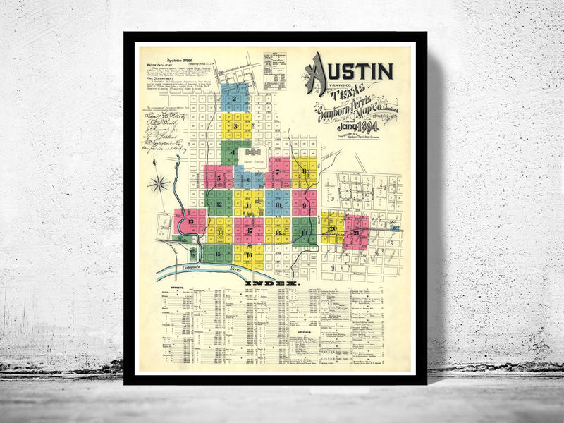 Old Map Of Texas.Old Map Of Austin Texas 1894