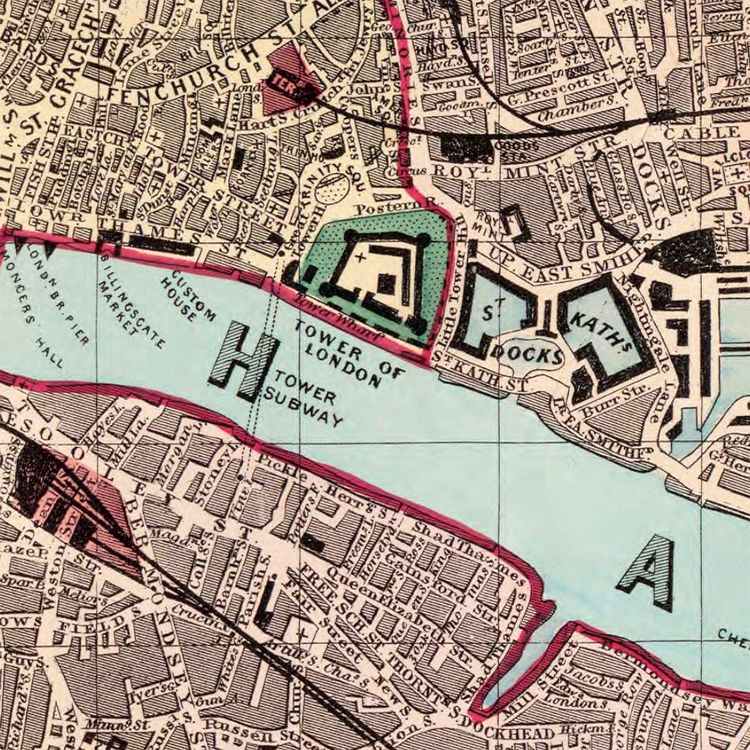 Detailed Map Of London.Old Map Of London 1880