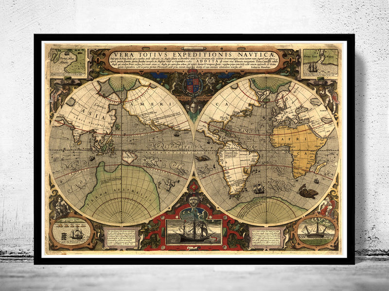 Old World Map antique 1595