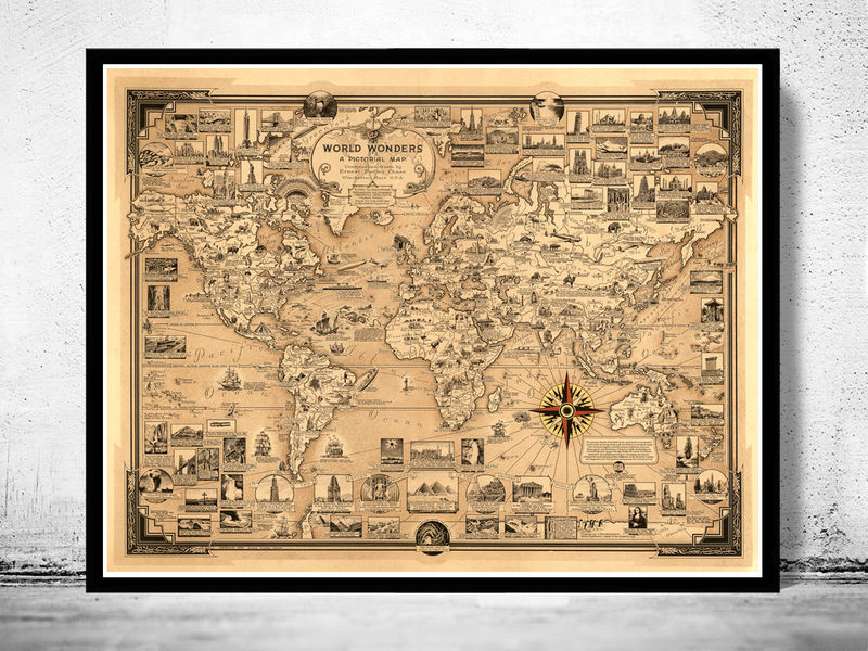 Old World Map World Wonders Vintage Poster on maps in text, maps in art, maps in home, maps in paintings, maps in paper, maps in wood,