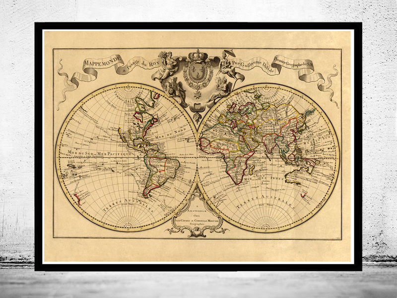 Old World Map antique 1742