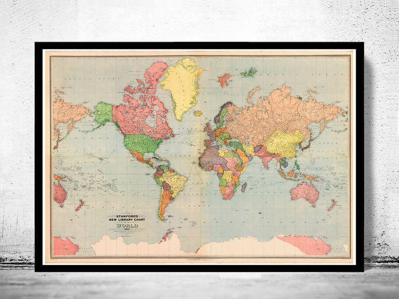 Old World Map Atlas Vintage World Map 1913 Mercator projection
