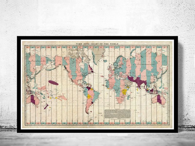 Old World Map Atlas Time Zone Chart Old Maps And Vintage Prints