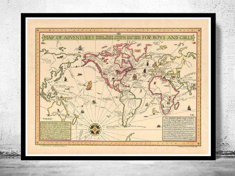Old World Map Atlas Vintage Antique 1925 Old Maps And Vintage Prints