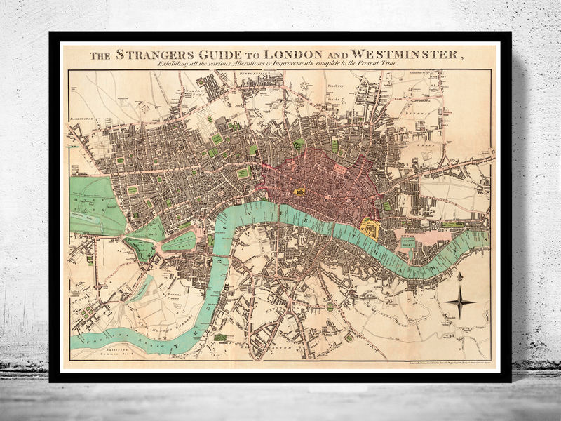 London Map Guide.Old London And Westminster Map 1806