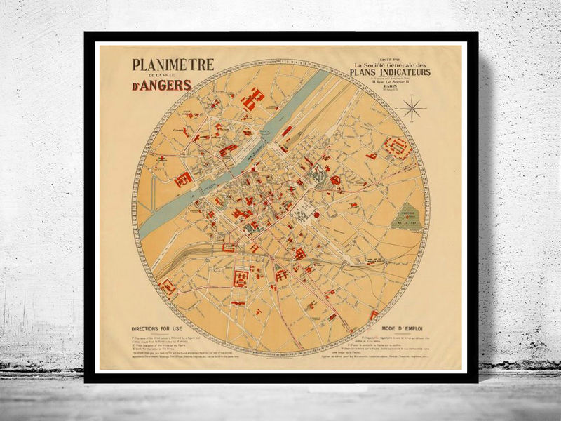 Old Map Of Angers 1931 France Old Maps And Vintage Prints
