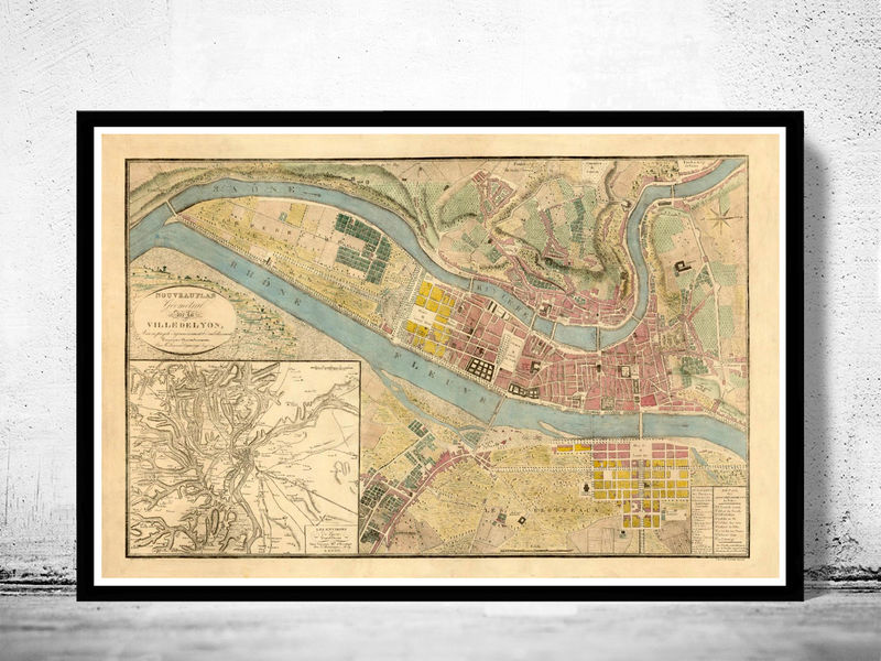Old Map Of Lyon France 1821 Old Maps And Vintage Prints