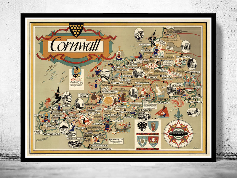 Old Map Of Cornwall England Old Maps And Vintage Prints