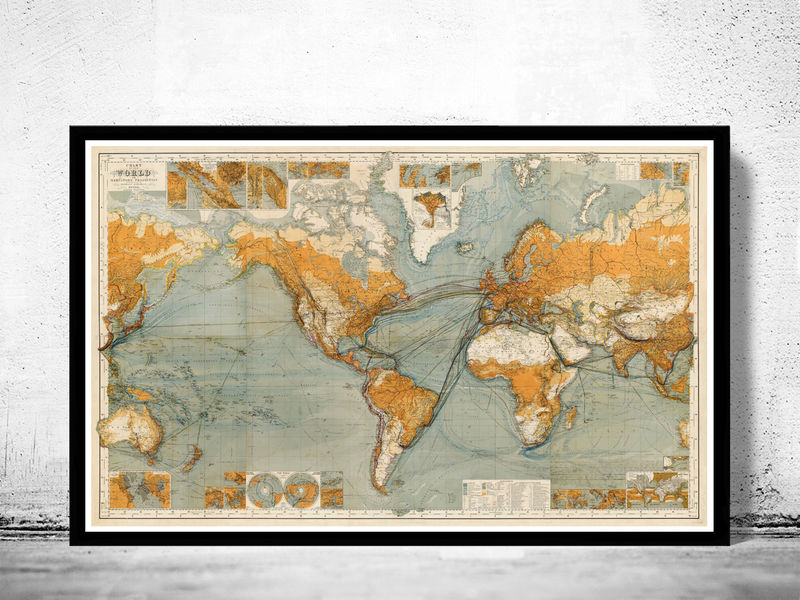 Great Vintage World Map In 1875 Old Maps And Vintage Prints