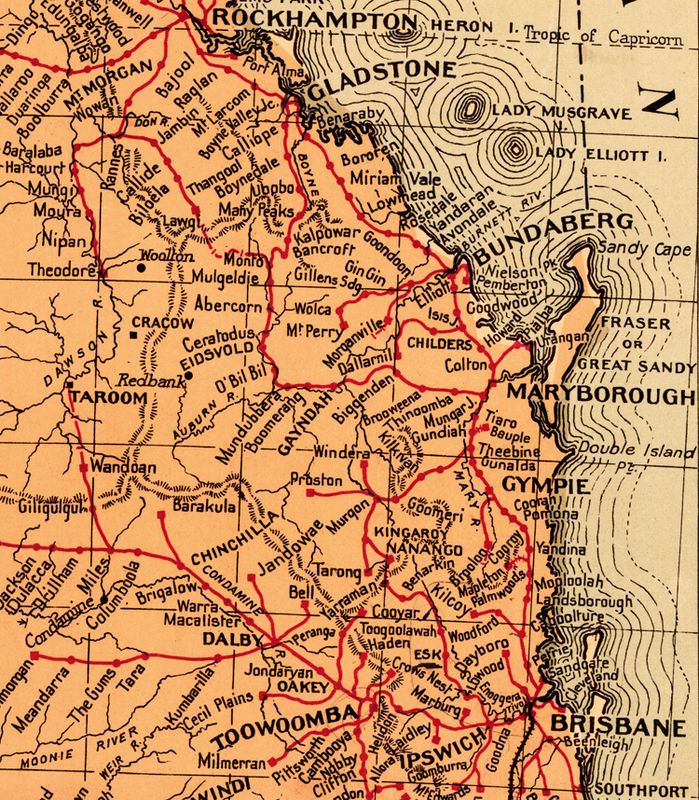 Map Queensland.Old Map Of Queensland Australia 1939