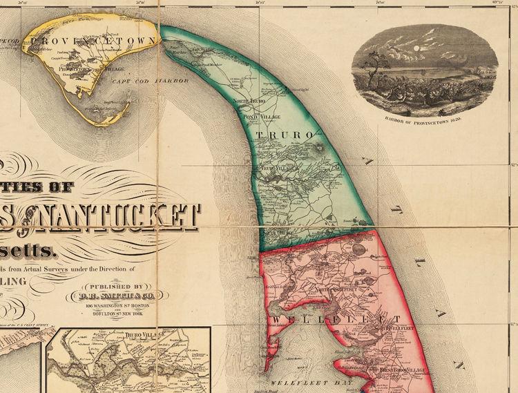 Marvellous Vintage Cape Cod Map Massachusetts 1860