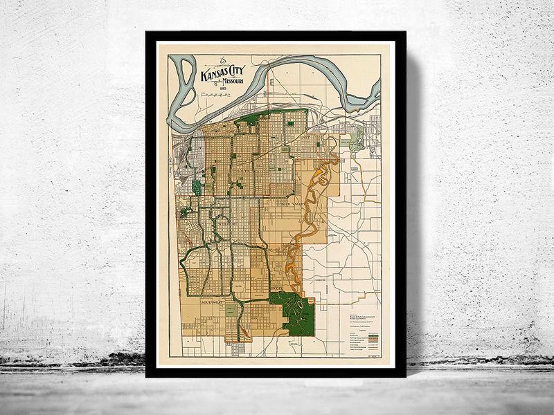 Old Kansas Map.Vintage Map Of Kansas City Missouri 1915 Old Maps And Vintage Prints