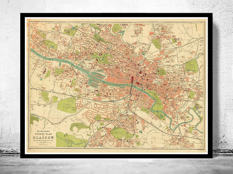 Old Map of Glasgow, Scotland 1917
