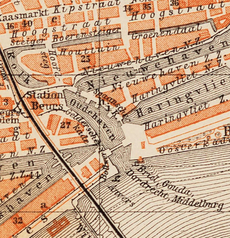 Old Map of Rotterdam Netherlands 1891