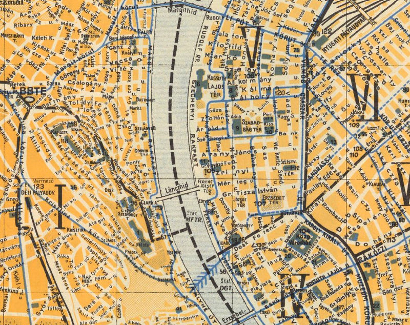 Old Map of Budapest Hungary 1935