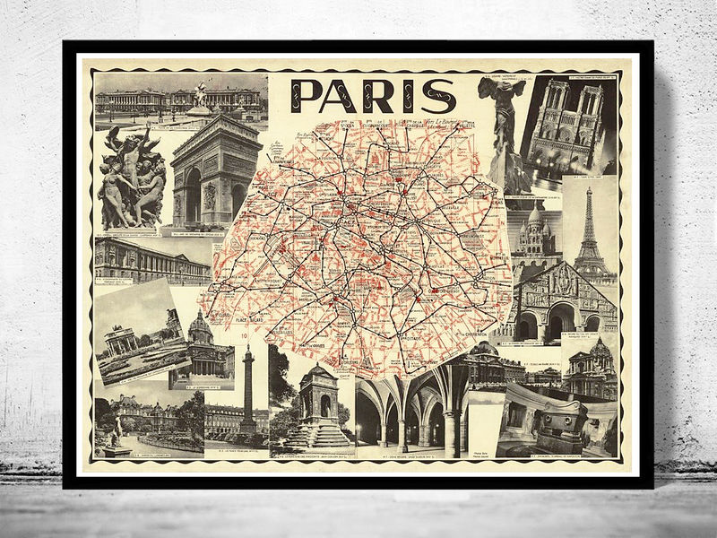 Old Map Of Paris Guide 1937 Old Maps And Vintage Prints