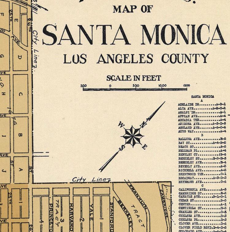 Old Map of Santa Monica LA California 1938 California Map La on north beach california map, riverside california map, sacramento california map, south central los angeles map, mn california map, all of california cities map, california capital map, gulf coast texas-louisiana map, brea california map, california california map, st. helena california map, chicago illinois map, alcatraz island california map, allendale california map, mc california map, los angeles and surrounding areas map, california los angeles metro map, no california map, los angeles neighborhoods map, nyc california map,